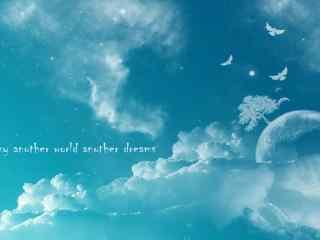 手绘蓝色天空唯美桌面壁纸