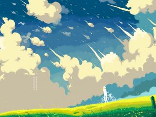 小清新手绘天空与草地桌面壁纸