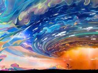 绚烂的手绘天空图片壁纸