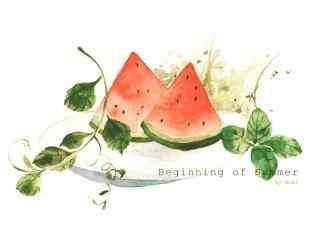 手绘立夏美食之西瓜壁纸