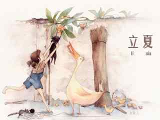 文艺立夏手绘插画图片壁纸