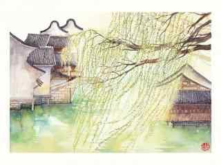 小清新手绘乌镇风景壁纸