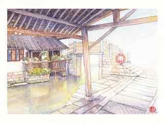 乌镇古镇风景手绘桌面壁纸