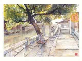 乌镇古镇风景之手绘壁纸