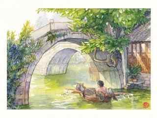 清新手绘乌镇风景壁纸