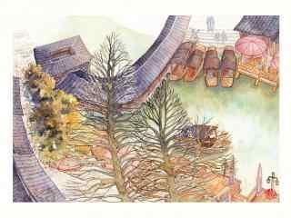 唯美的乌镇古镇风景手绘壁纸