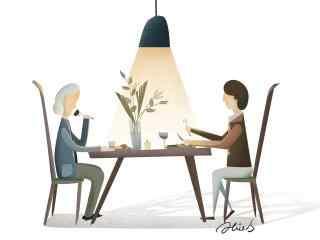 2017母亲节和妈妈吃饭手绘壁纸