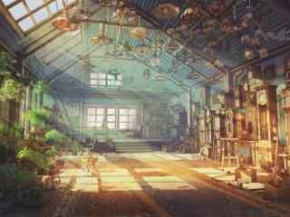 动漫意境场景之午后的花室