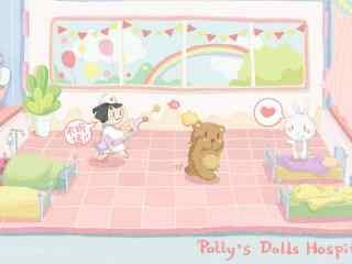 粉色可爱儿童节手绘壁纸