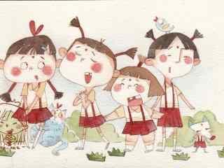 可爱的六一儿童节手绘女孩表演壁纸