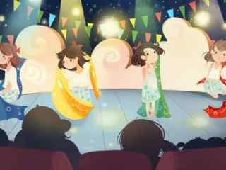 手绘儿童节小女孩表演节目图片