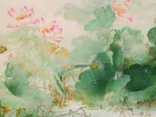 淡雅国画莲花图片壁纸