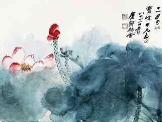 国画莲花桌面壁纸