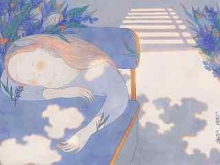 夏至手绘可爱桌面壁纸