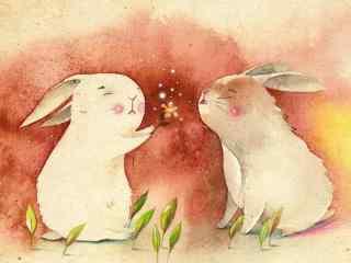 可爱手绘两只小兔子桌面壁纸