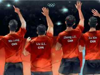 手绘乒乓球奥运冠军桌面壁纸
