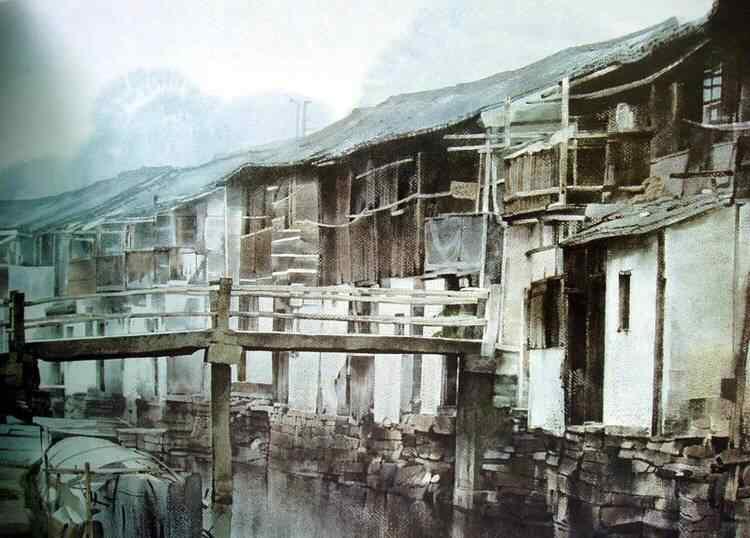 烟雨江南水彩画桌面壁纸