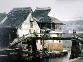 好看的烟雨江南水彩画风景壁纸