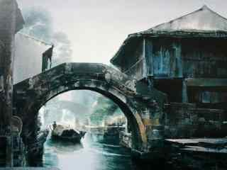 水彩画烟雨江南风景壁纸