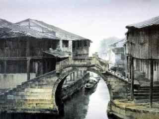 烟雨江南水彩画风景壁纸