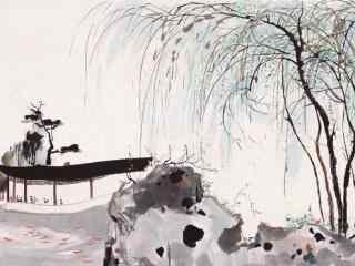 水墨画版的烟雨江南桌面壁纸