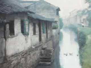 水墨画烟雨江南风景壁纸
