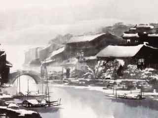 烟雨江南水墨画风景壁纸