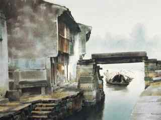 美丽的烟雨江南水彩画风景壁纸
