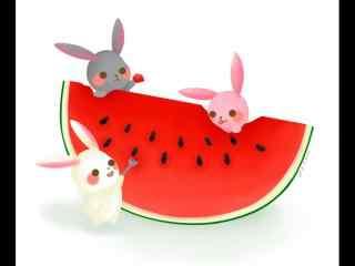 手绘小兔子吃西瓜