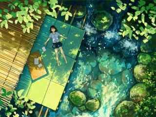 夏日清凉手绘风景桌面壁纸