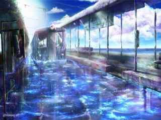 夏日清凉手绘冷色调风景壁纸