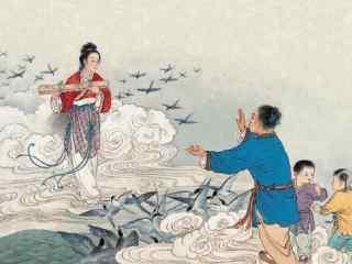 手绘七夕节牛郎织女相见壁纸