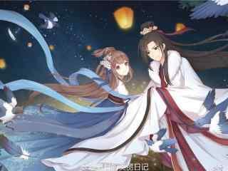 七夕情人节手绘牛郎织女壁纸