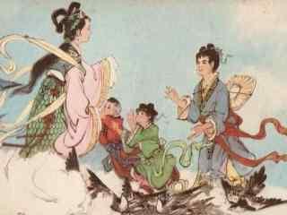 七夕牛郎织女相会手绘桌面壁纸