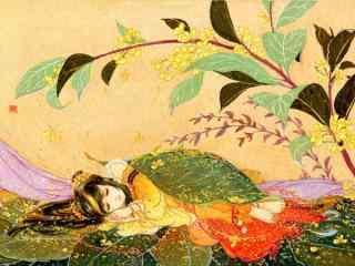 手绘桂花与少女桌面壁纸