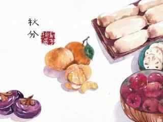 手绘秋分节气食物