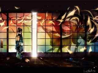 手绘九尾狐与少女桌面壁纸