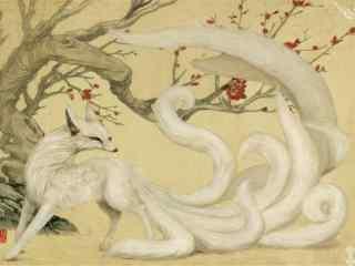 手绘九尾狐图片壁
