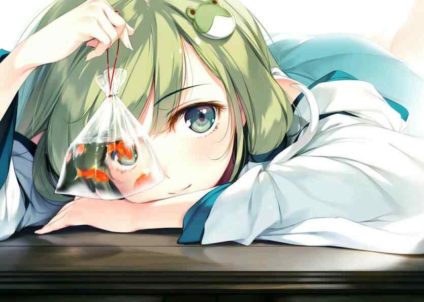 手绘少女与可爱金鱼图片壁纸