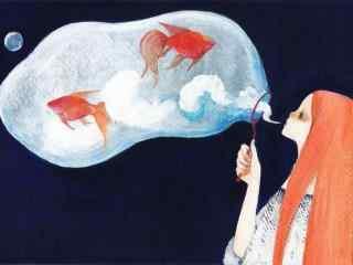 手绘可爱金鱼图片壁纸