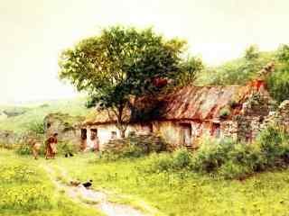 水彩乡村手绘风景