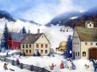 美国乡村水彩画手绘风景壁纸