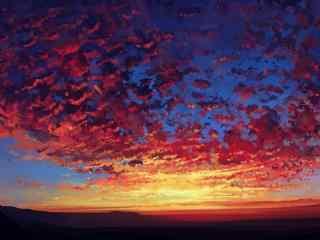 晚霞手绘风景壁纸