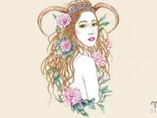 白羊座少女高清手绘美女壁纸