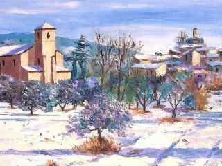 冬季手绘风景壁纸
