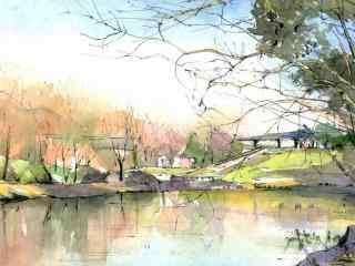 公园水彩手绘风景