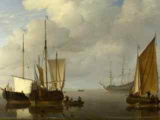 海上帆船画手绘风景壁纸