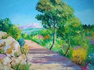 田园风光手绘风景壁纸