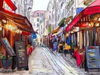 欧洲小巷高清手绘