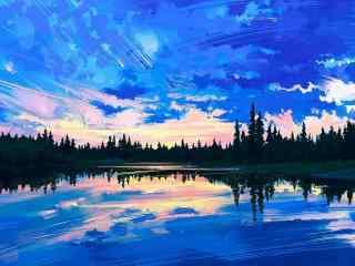 湖水倒映着蓝天手